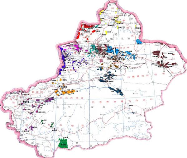 新疆生産建設兵団師 分布図