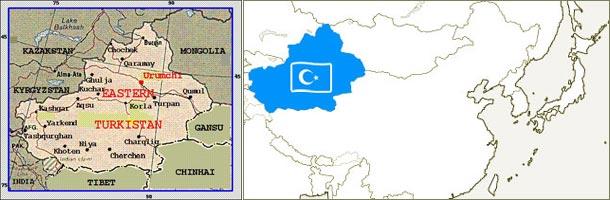 ウイグル・東トルキスタン地図